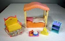 5pc Fisher-Price Loving Family Hard-Canopy-Bed Wide-Chair bookshelf Popcorn-Tray