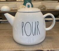 Rae Dunn - Magenta - 'POUR' Teapot Ceramic - Ivory Large Letter Farmhouse