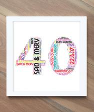 40Th Wedding Anniversary Gift! Ruby Wedding Gift! Personalised Word Art Print!