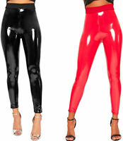 Womens Wet Look Shiny Pu Jeggings Trousers Ladies High Waisted Leggings 8-18
