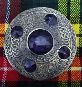 "New Scottish Kilt Fly Plaid Brooch Purple 5 Stone Antique Celtic Pin Brooches 4"""