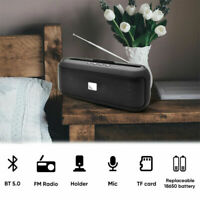 FM Radio Wireless Bluetooth 5.0 Speaker Home Stereo Bass Loudspeaker USB TF Slot