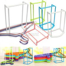 Smart Design Home Plastic Clothes Organizer Hanger Holder Stacker Storage Rack