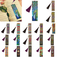 DIY Peafowl Special Shaped Diamond Painting Leather Art Tassel Bookmark Gift New
