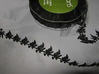 1m of 20mm MAY ARTS SATIN CUT-OUTS RIBBON - BLACK WITCHES