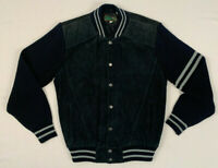 PINE GROVE vintage 90s suede leather acrylic knit bomber snap jacket sz large