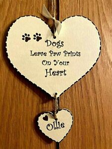 New Pet Loss Memorial Plaque Personalised Handmade Sign Heart, Gift Keepsake Dog