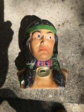 VTG Native American Indian Warrior Man Ceramic Statue Bust