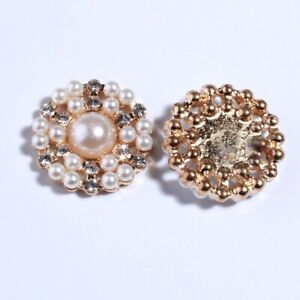 20PCS 22MM Newhot Rhinestone Buttons With Ivory Pearl Beads For Wedding