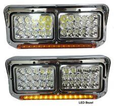 New Chrome Amber LED Headlight PAIR FOR Kenworth T400 T600 T800 W900B W900L