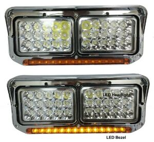 New Chrome Amber LED Headlight PAIR FOR Western Star 4900