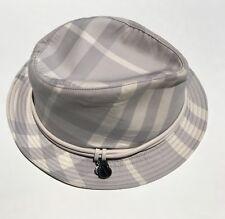 Burberry Gray Grey White Nova Check Fedora Hat Heart Charms Leather Trim