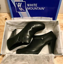 White Mountain Ladies/Womens Shoes Heels Smirk Black Smooth Size 9M/9 Medium NEW