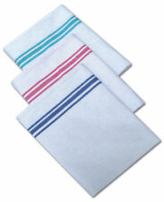 Cotton White With Coloured Stripe Tea Towel Glass Cloth Red, Blue & Green