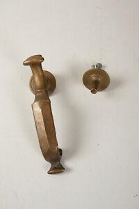 Antique Bronze Doctor's Door Knocker (N7L) Entry Handle-Shaped w/Strike Plate