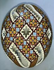 Handmade Romanian Pysanky Ostrich Egg with colored raised wax & cutouts (Ord001)