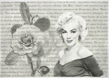 Rice Paper for Decoupage, Scrapbook Sheet - Marilyn Monroe with Rose