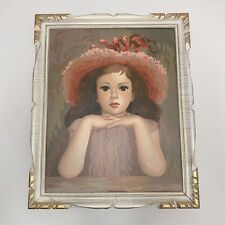 "Vtg Paint By Numbers Completed Framed Girl Child Brown Hair Pink Hat 23"" X 19"""