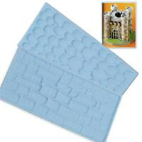 Wooden Impression Brick Pebble Mold Mat Fondant Embosser Cake Decorating Tool KV