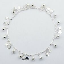 flower & sphere charms handcrafted 270mm Anklet sterling 925 silver dainty flat