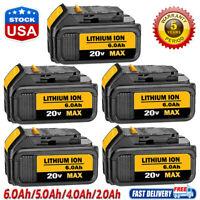 5X DCB206-2 For Dewalt 6.0Ah 20V MAX Lithium Ion Battery DCB205-2 DCB200 DCB201