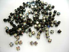 70 vintage swarovski 4-hole rose montees,30ss crystal AB/black matt