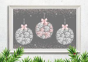 Glam Christmas Bauble Picture Print Diamanté Pink Silver Xmas Wall Decor A4 1