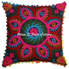 Indian Hand Embroidered Pillow Case Cover Decor Cotton Suzani Cushion Cover 16""