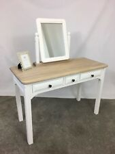 Traditional White & Oak Solid Wood Bedroom Dressing Table Set + Vanity Mirror