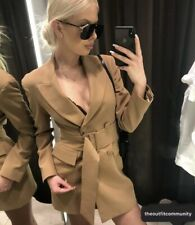 Zara Camel Jacket Dress With Belt. Size M