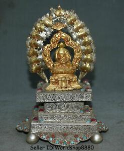 "7.6"" Old Tibet Buddhism Temple Silver Wire Copper Gilt Shakyamuni Buddha Statue"