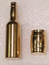 Lot of 2- 1 x 2 OZ Solid Brass Beer Keg & 1x 4 ounce Beer Bottle Christmas Gift