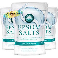 3x Elysium Epsom Bath Salts EUCALYPTUS Magnesium Sulphate Relaxing Soak 450g