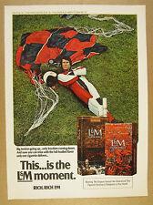 1972 skydiver parachuting parachute photo L&M Cigarettes vintage print Ad