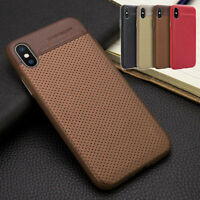 Hybrid Leather Matte Rugged Bumper Case Shockproof Cover for iPhone X XR XS Max