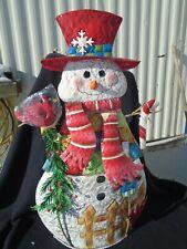 """Home Interiors 30"""" Musical Light-up Metal Snowman"""