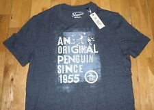 426a6b29 Original Penguin Print Logo Dark Sapphire Navy Crew Neck T-Shirt M New