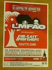 LMFAO + Far East Movement, Colette Carr - Glasgow march 2012 concert gig poster