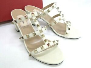 VALENTINO GARAVANI ROCKSTUD Calfskin Slide Sandals Size 37 Italy 13170413400 P