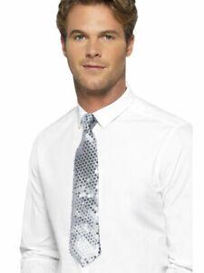 Silver Sequin Zipper Neck Tie Unisex Costume Accessory Recital Quartet Uniform