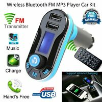 Car Bluetooth Wireless Radio FM Transmitter Handsfree LCD MP3 Player USB charger