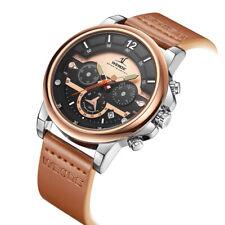 Luxury Brand Men Rose Gold Watch Soft Leather Strap Quartz, WEIDE (UV2002)