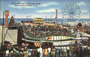 Wildwood NJ Playland Amusement Park Rides Colorful Linen Postcard