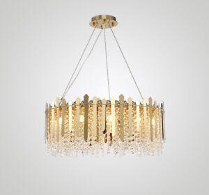 Modern Luxury Gold Round Metal Crystal Chandelier Decoration Lamp Fixture Light