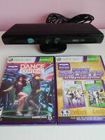 Xbox 360 Kinect 1414 Sensor Bar w/ Kinect Sports & Dance Central Games!