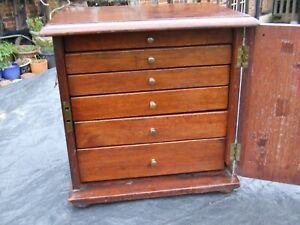 "ANTIQUE SMALL WALNUT CABINET WITH 6 DRAWERS  collector, etc 12"" x 12"" x 8"""