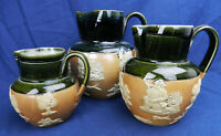 Set 3 Antique ROYAL DOULTON LAMBETH Stoneware Harvest Jugs HUNTING dogs c1910