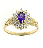 Tanzanite Ring Yellow Gold Cluster Engagement Dress Solid Hallmarked Size F - V