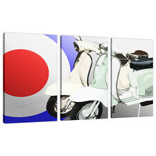 3 Piece Red Blue Scooter Canvas Art Pictures Boys Bedroom Prints 3150