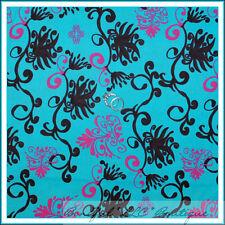 BonEful Fabric Cotton Quilt Aqua Blue Flower Girl Pink Brown Breast Cancer SCRAP